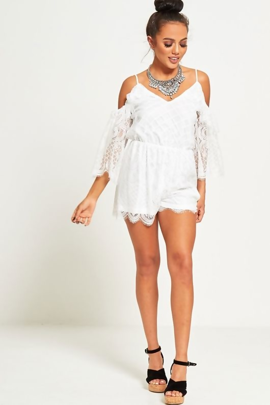 White lace Cold Shoulder Flared Sleeved Playsuit