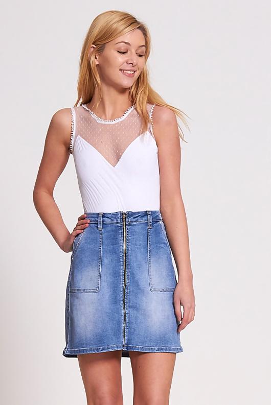 White Mesh Sleeveless Bodysuit