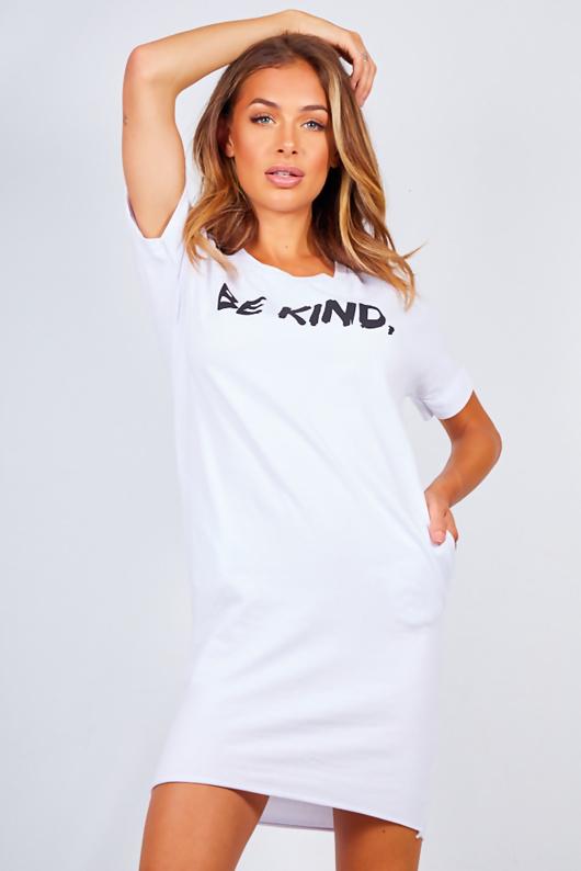 White Oversized Be Kind Slogan Tee Dress