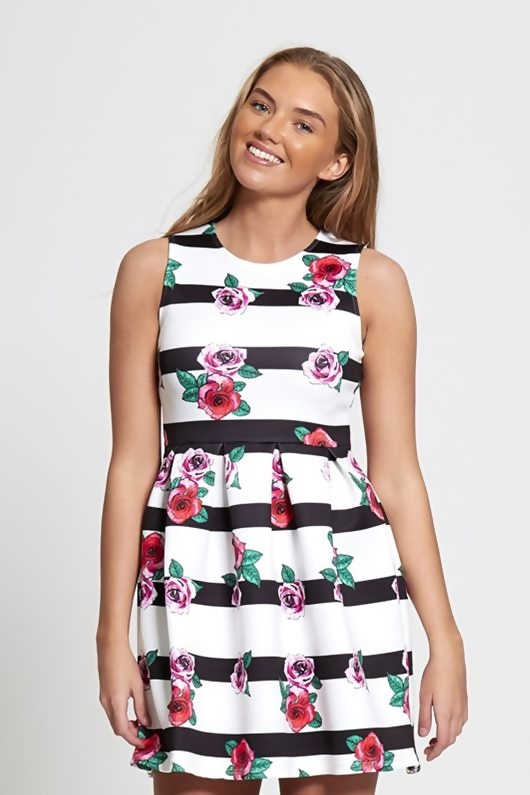 White Striped Floral Skater Barbie Dress