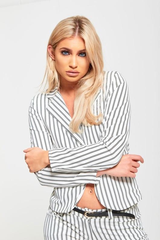 White Striped Slim Fit Blazer  Co-Ords