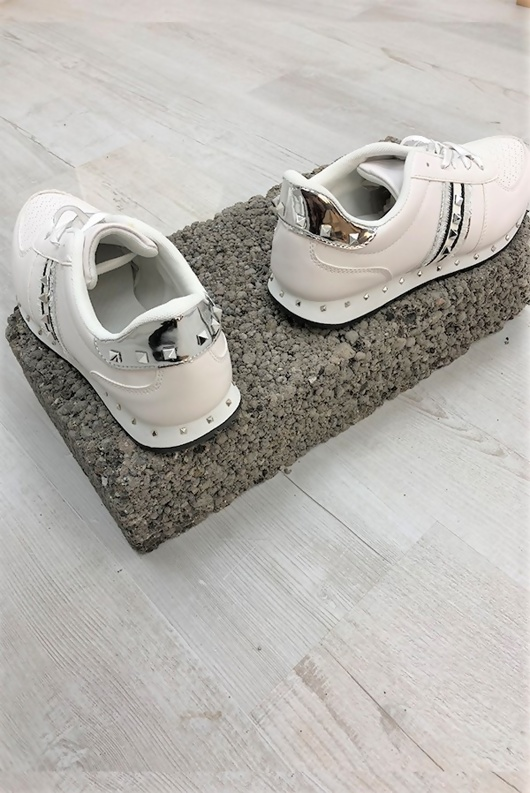 White Stud Ribbon Lace Up Trainers