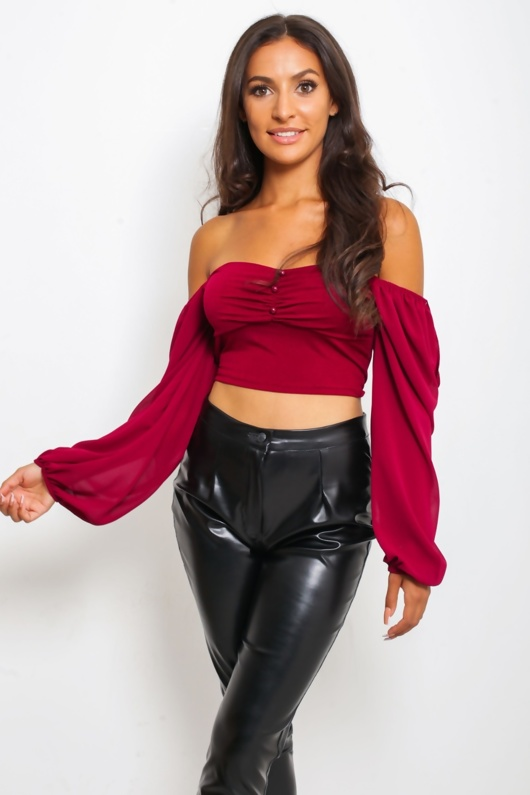 Wine Button Front Crop Top