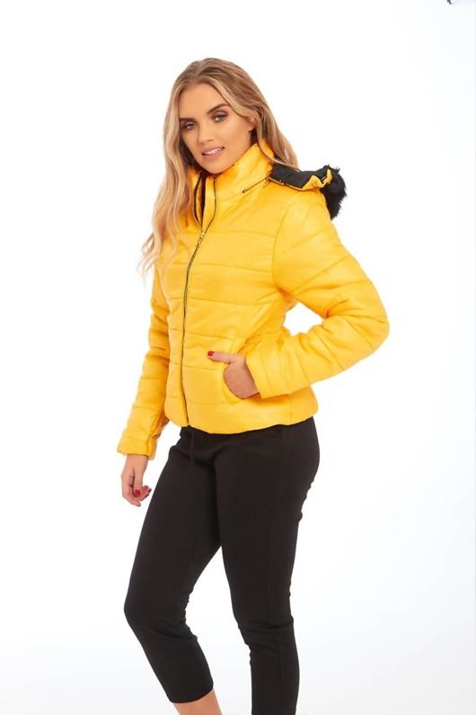 Yellow Fur Hood Jacket