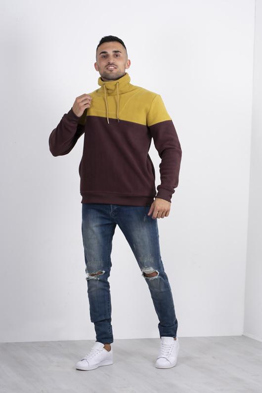 Mens Mustard Contrast Pullover Fleece