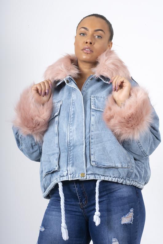 Pink Faux Fur Trim Denim Jacket