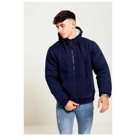 Mens Blue Borg Fleece Zip Up Hoodie